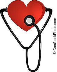 cuore, illustrazione, vettore, stetoscopio, fondo, bianco