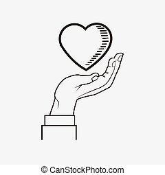 cuore, immagine, disegno, linea, mano