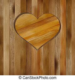 cuore, in, legno, forma, per, tuo, design., +, eps8