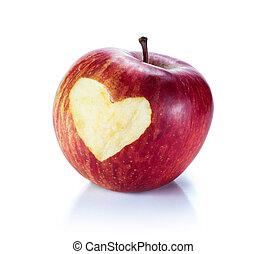 cuore, in, mela rossa