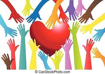 cuore, intorno, immagine, vettore, mani, logotipo