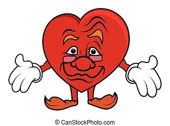 cuore, invecchiato, carattere, cartone animato