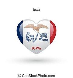cuore, iowa, stato, simbolo., bandiera, amore, icon.