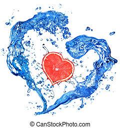 cuore, isolato, acqua, pompelmo, schizzo, bianco