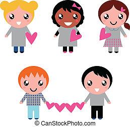 cuore, isolato, carino, collezione, forme, bambini, bianco