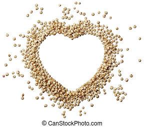 cuore, isolato, quinoa, grano, fondo, bianco