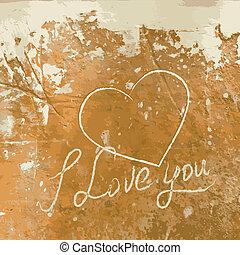 cuore, lei, concreto, amore, wall.