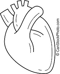 cuore, linea, icon., umano