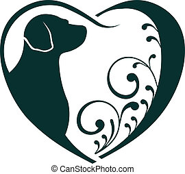 cuore, love., veterinario, cane