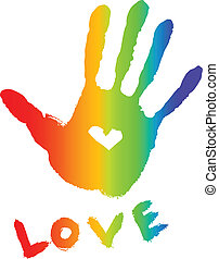cuore, luminoso, handprint, colorito