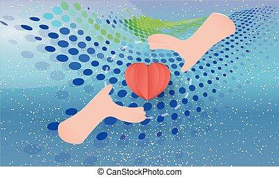 cuore, mani, astratto, cura, fondo, presa