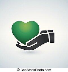 cuore, mani, illustrazione, vettore, verde, presa a terra, sanità