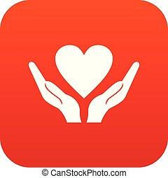 cuore, mani, presa a terra, digitale, rosso, icona