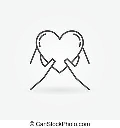 cuore, mani, presa a terra, icona