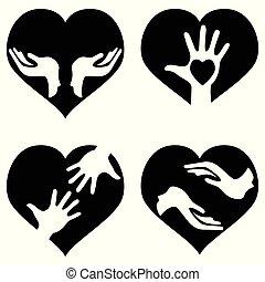cuore, mani, set, icone