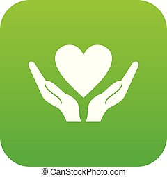 cuore, mani, verde, presa a terra, digitale, icona