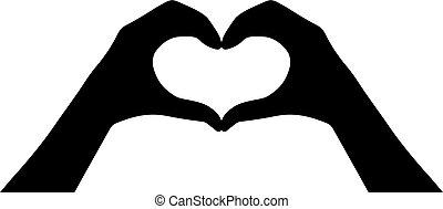 cuore, mani, vettore, icona
