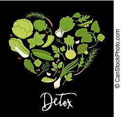 cuore, manifesto, verdura, lattuga, forma, vettore, verde, fresco, stagionature, insalate