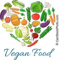 cuore, manifesto, verdura, vettore, veggies, vegetariano