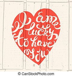 cuore, mano, disegnato, tipografia, manifesto