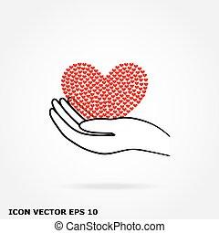 cuore, mano, icona