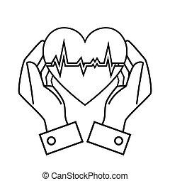 cuore, mano, tasso, disegno, presa, disegno