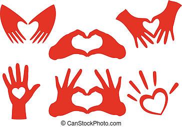 cuore, mano, vettore, set