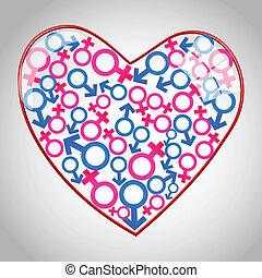 cuore, maschio, femmina, icone