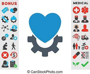 cuore, meccanico, icona
