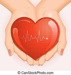 cuore, medico, fondo, mani
