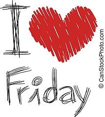 cuore, messaggio, venerdì, bello