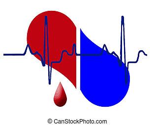 cuore, mezzo, fondo, battito cardiaco