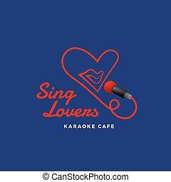 cuore, microfono, amanti, emblema, segno, astratto, creativo, forma., template., vettore, bocca, karaoke, cantare, logotipo, concept., canto, o