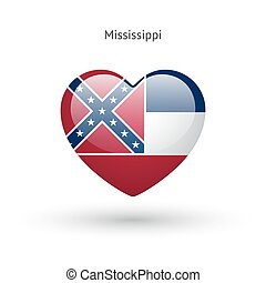cuore, mississippi, amore, bandiera, simbolo., stato, icon.