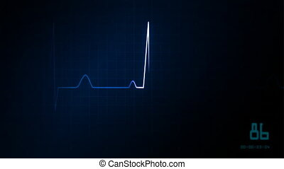 cuore, monitor ekg, blu