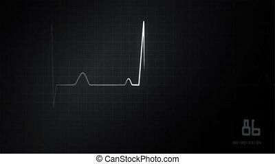 cuore, monitor ekg, grigio