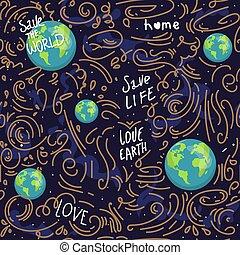 cuore, motivazione, ecologia, amore, iscrizione, character., terra, icone fotoricettore, modello, seamless, risparmiare, felice, mappa, globe., natura, planet., mondo, cartone animato, illustration., modellato, pianeta, vettore, verde, earth.