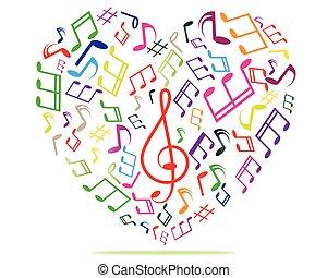 cuore, musica, colorito