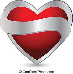 cuore, nastro, logotipo