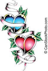 cuore, nastro, tatuaggio