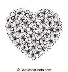 cuore, nero-e-bianco, fiori, contorno, forma