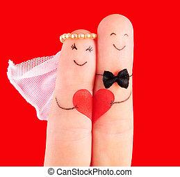 cuore, newlyweds, concetto, contro, fondo, matrimonio, rosso