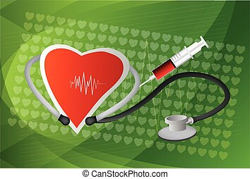 cuore, normale, simbolo, linea, stetoscopio, elettrocardiogramma
