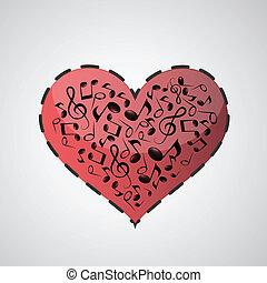 cuore, note, fatto, musica