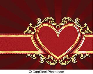 cuore, orizzontale, bandiera, rosso, modellato