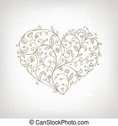 cuore, ornamento, forma, disegno, floreale, tuo