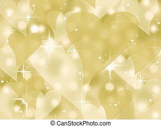 cuore oro, bokeh, scintilla, fondo
