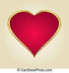 cuore, oro, vettore, cornice, forma