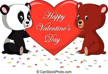 cuore, orso panda, presa a terra