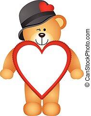 cuore, orso teddy, modellato, cornice